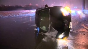 Flipped cars, toppled hydro poles: Ice storm causes havoc in Ontario Sunday night