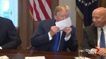 Trump shows off his proposed tax filing paper, then kisses it