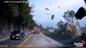 Caught on Camera: Out-of-control boulder nearly crushes driver in Taiwan