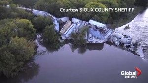 Dramatic drone footage shows train derailed in Iowa