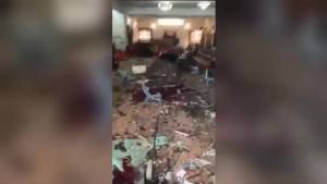 Interior of Church show destruction after suicide bomb attack