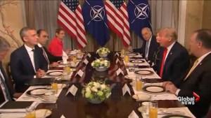Breakfast between Trump, Jens Stoltenberg turns awkward as Trump rails against Germany