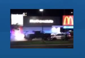 Truck rams 2 RCMP vehicles in Westlock McDonald's drive-thru