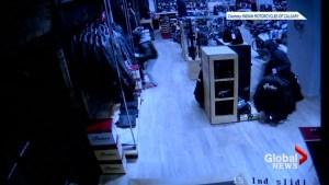 CCTV footage shows smash and grab at Calgary motorcycle shop