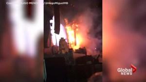 Spain music festival stage ablaze, amateur video shows