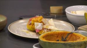 Making hubbard squash salad and squash soup for Restaurants for Change