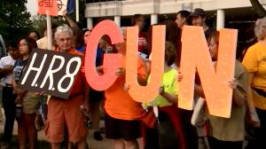Vigil held outside NRA headquarters in Virginia to call for gun reforms in wake of El Paso, Dayton shootings (01:30)
