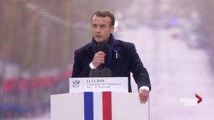 "Macron rebukes nationalism calling it ""a betrayal of patriotism"""