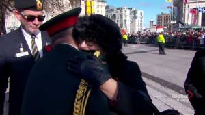 Canada's Silver Cross Mother arrives for the national Remembrace ceremony in Ottawa