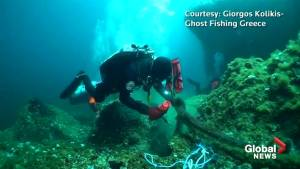 Two tonnes of fishing nets removed from Greek seabed near rare colony of seahorses
