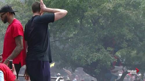 Raptors victory parade: Marc Gasol fires up the crowd
