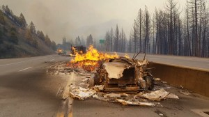 Burned out trucks, homes left in wake of Calfiornia wildfire