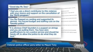 'Saunders is a puppet on strings': Veteran Toronto police officer sends email calling out Mayor Tory