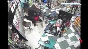 Calgary police release CCTV footage of violent robbery that injured store clerk