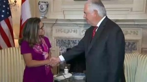 Chrystia Freeland offers condolences to U.S. Secretary of State Rex Tillerson, condemns 'racist hatred' of Charlottesville riots