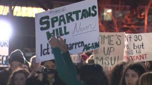 Hundreds of Michigan State University students rally in support for Larry Nassar victims