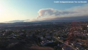 Drone footage captures smoke and smog from California wildfires
