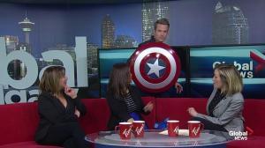 Captain America visits Global News Morning Calgary