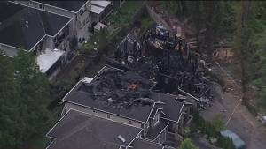 Fire burns down family home in Surrey