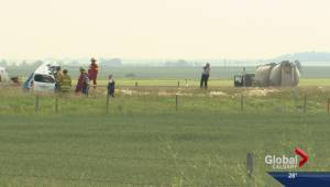 Two people killed after car gets hit by cement truck on Hwy 817 near Strathmore