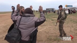 Kurdish TV shows hundreds of alleged ISIS fighters surrendering