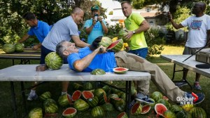 'Don't try this at home': Man sets record for slicing most watermelons in one minute on his own stomach