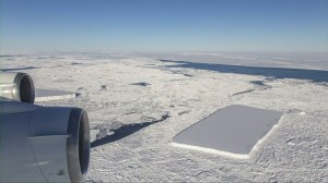 Iceberg floating in Antarctica is unusual perfect rectangle