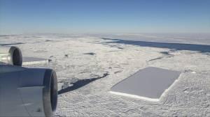 Iceberg floating in Antarctica is unusual perfect rectangle