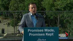 Alberta premier outlines 'promises kept' after 100 days