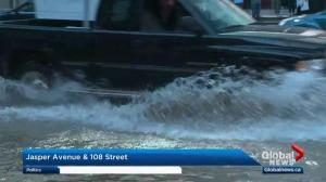 Water main break causes chaos in downtown Edmonton