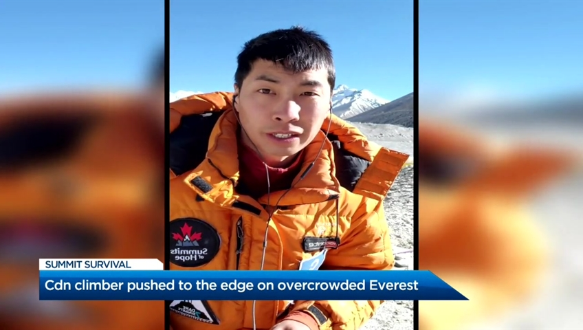 Click to play video: 'Canadian climber pushed to the limit on overcrowded Everest'
