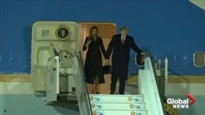 Donald Trump arrives in Paris amid spat with Emmanuel Macron