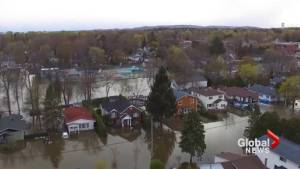 Aerial footage shows severe flooding in Deux-Montagnes area