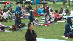 Summer solstice marked in Edmonton with sunrise yoga class