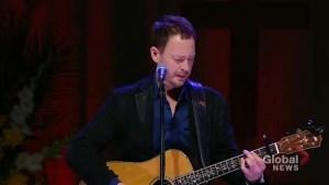 Paul Brandt sings 'Small Towns and Big Dreams' at Humboldt Broncos memorial