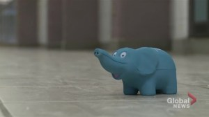 Blue elephants represent safe places to talk mental health