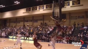 College basketball player smokes backboard with head, still makes incredible block