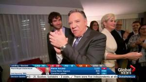 Quebec Election: CAQ party leader Francois Legault's celebrates victory