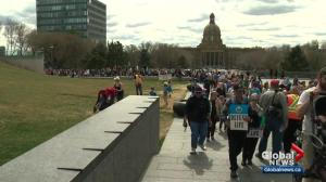 Hundreds of protesters attend pro-life rally at Alberta legislature grounds