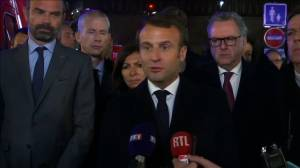 Notre Dame fire: France's Macron says 'we will rebuild' as flames still burn (02:35)
