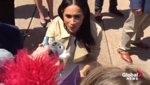 Child gives Duchess of Sussex Meghan stuffed koala and says 'this is for your baby'