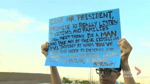 Angry protesters in El Paso take aim at Trump (02:34)