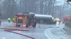 Tractor-trailer rollover spills fuel near Caledon river