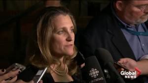 Freeland traveling back to Saskatoon to update Trudeau on NAFTA negotiations