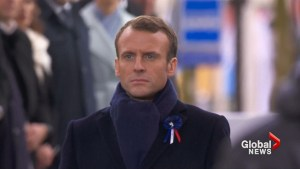 On First World War armistice centenary, Macron warns of nationalism in speech as Trump looks on