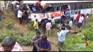 At least 45 killed after bus falls into valley in southern India
