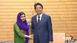 Nobel Peace Prize laureate Malala meets Japanese Prime Minister Shinzo Abe
