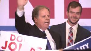 Doug Jones addresses supporters after defeating Roy Moore for Alabama Senate seat