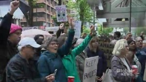 Hundreds rally in Toronto against Trump's immigration policy