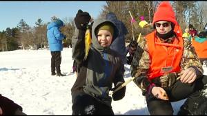 Hundreds reel in the fun at free family ice fishing day on Chemong Lake (01:45)